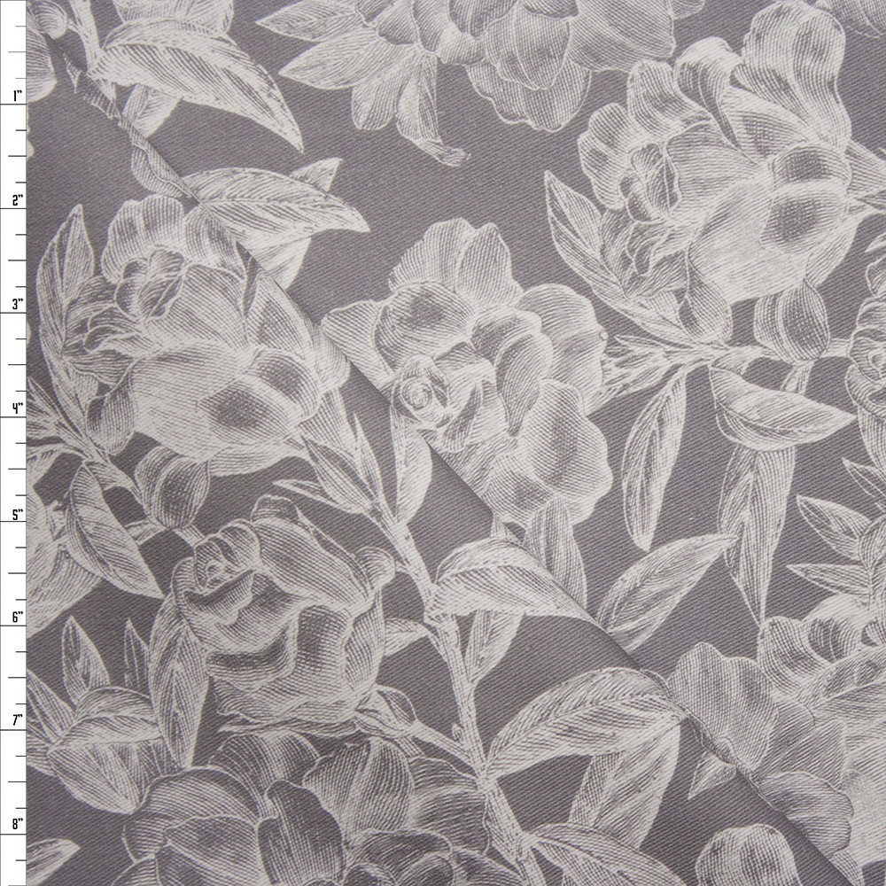 White Woodcut Roses on Grey Stretch Twill from '7 for All Mankind' Fabric By The Yard