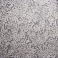 White Woodcut Roses on Grey Stretch Twill from '7 for All Mankind' Fabric By The Yard - Wide shot