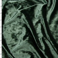Dark Sage Green Crushed Stretch Velvet Fabric By The Yard