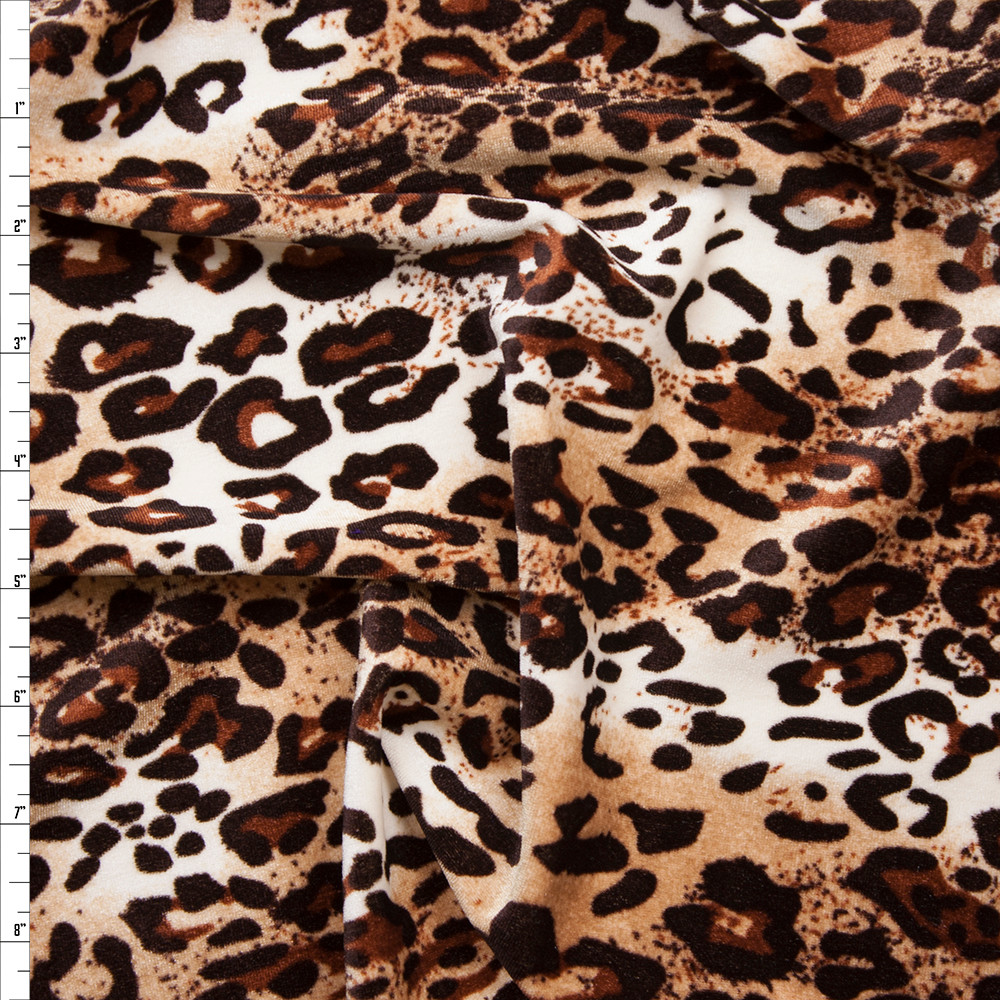 Leopard 4-way stretch velvet (same as BenTex) Fabric By The Yard
