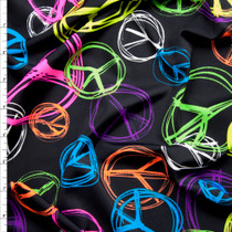 Neon on Black Peace Signs Midweight Nylon/Lycra Print Fabric By The Yard