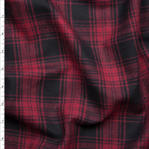 Red and Black Plaid Flannel Fabric By The Yard
