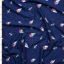 Red and White Sailboats and Anchors on Navy Blue Double Brushed Poly Spandex Fabric By The Yard