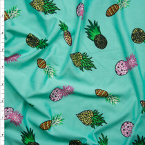 Pineapples on Mint Green Double Brushed Poly Spandex Fabric By The Yard
