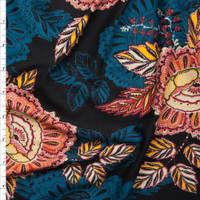 Teal, Red, and Yellow Spanish Floral on Black Double Brushed Poly Spandex Fabric By The Yard