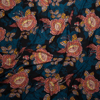 Teal, Red, and Yellow Spanish Floral on Black Double Brushed Poly Spandex Fabric By The Yard - Wide shot