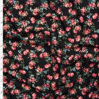 Pink, Blue, and Green Mini Rose Floral on Black Double Brush Poly Spandex Fabric By The Yard