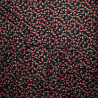 Pink, Blue, and Green Mini Rose Floral on Black Double Brush Poly Spandex Fabric By The Yard - Wide shot