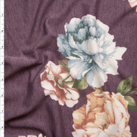Peach and Light Blue Flowers on Heather Plum French Terry Fabric By The Yard