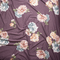 Peach and Light Blue Flowers on Heather Plum French Terry Fabric By The Yard - Wide shot
