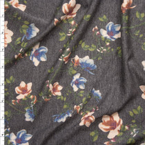 Peach and Light Blue Flowers on Charcoal Heather French Terry Fabric By The Yard