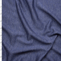 Denim Blue Heather Lightweight French Terry Fabric By The Yard
