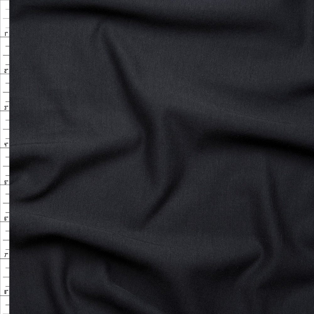 Black Midweight 4-way Stretch French Terry Fabric By The Yard