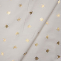 Metallic Gold Stars on Offwhite Stretch Twill from '7 for All Mankind' Fabric By The Yard - Wide shot