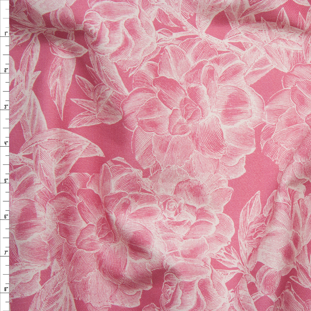 White Woodcut Roses on Pink Stretch Twill from '7 for All Mankind' Fabric By The Yard