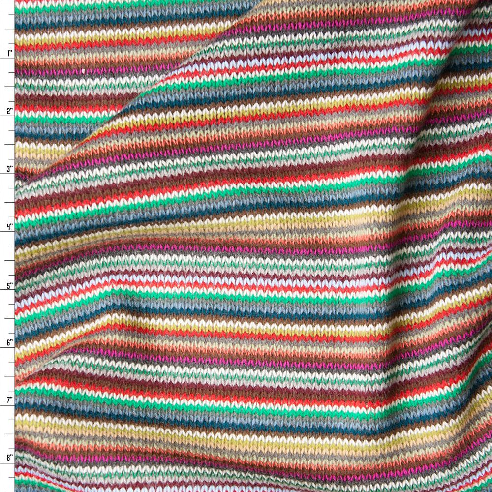Multi Narrow Stripe Sweater Knit Fabric By The Yard
