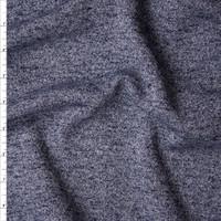 Navy Blue Mottled Midweight Sweatshirt Fleece Fabric By The Yard