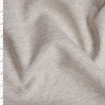 Ivory Grey Heather Midweight Sweatshirt Fleece Fabric By The Yard