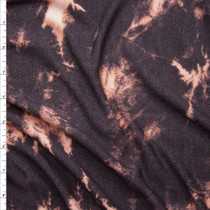 Pink and Dark Brown Tie Dye Stretch Lightweight French Terry Fabric By The Yard