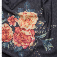 Orange and Teal Floral on Charcoal Grey Heather Lightweight French Terry Fabric By The Yard