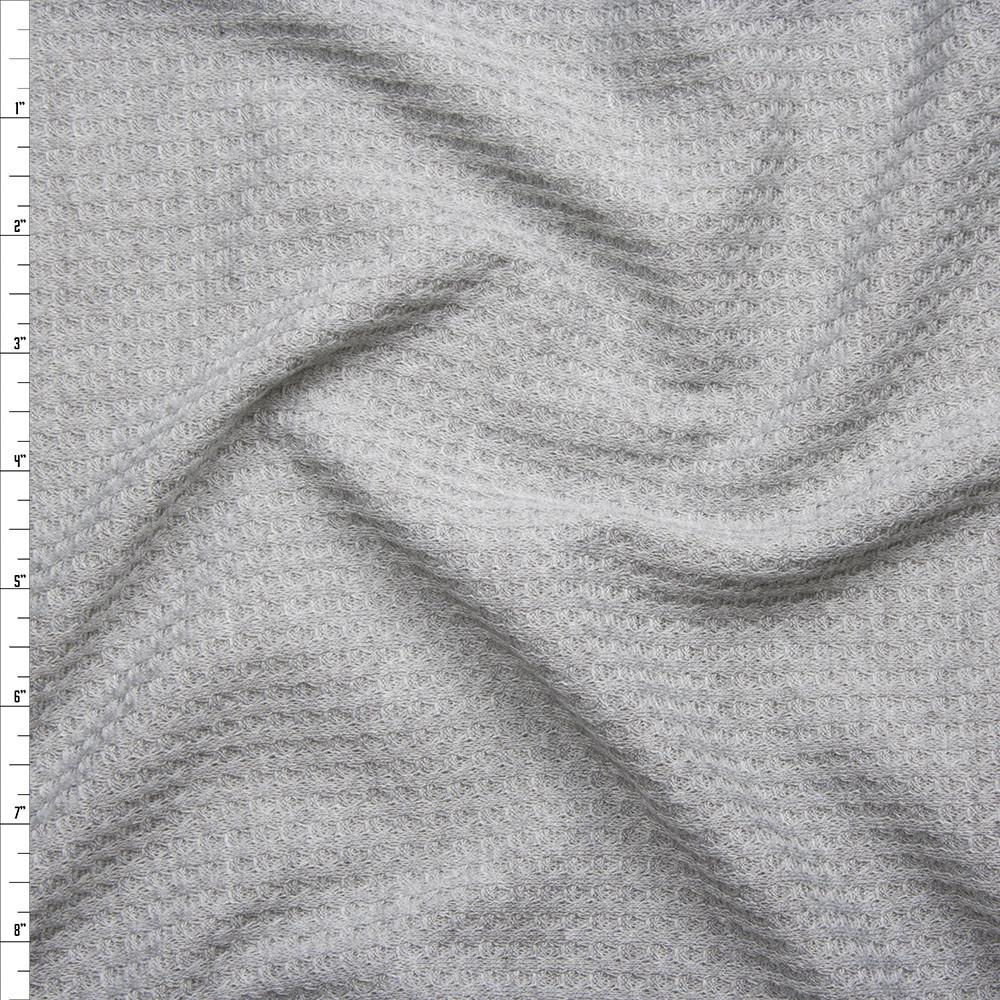Light Grey Soft Waffle Sweater Knit Fabric By The Yard