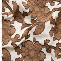 "Brown on Ivory Designer Embroidered Floral Lawn from ""Milly"" Fabric By The Yard"