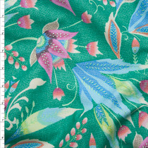 Green and Pink Amy Butler 'Tivoli' Glow Sateen  Fabric By The Yard