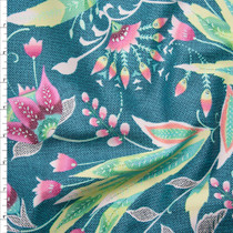 Teal and Pink Amy Butler 'Tivoli' Glow Sateen  Fabric By The Yard