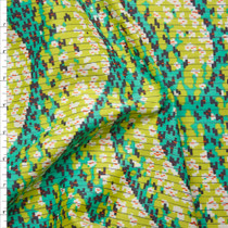 Turquoise and Lime Amy Butler 'Geo Wave' Glow Sateen  Fabric By The Yard