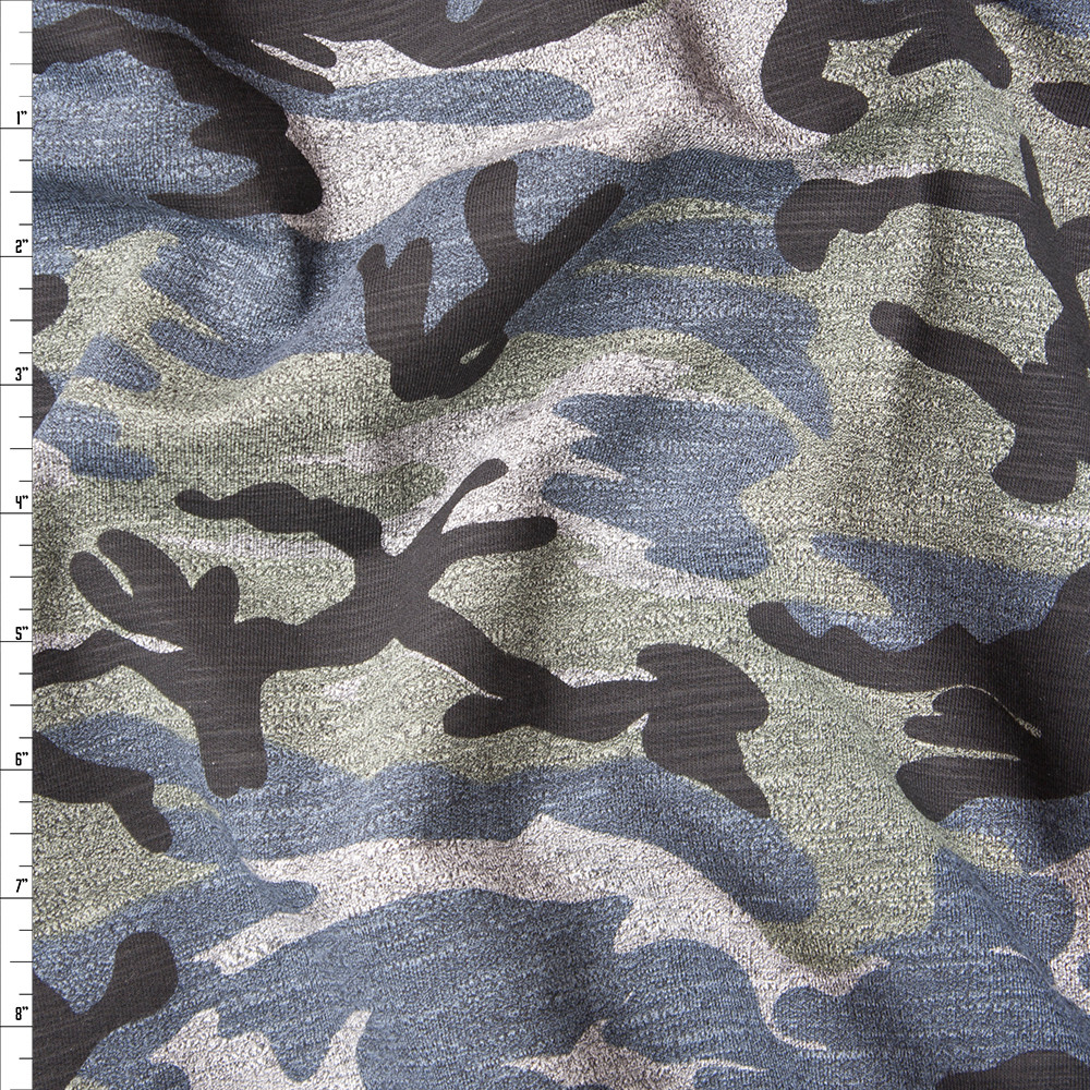 Grey Camouflage Stretch Midweight French Terry Fabric By The Yard
