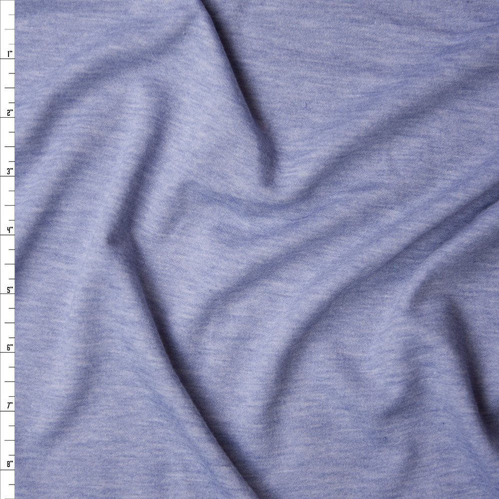 Light Blue Soft Heather Lightweight French Terry Fabric By The Yard