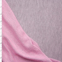 Heather Grey Lightweight French Terry With Pink Back Fabric By The Yard