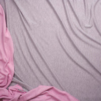 Heather Grey Lightweight French Terry With Pink Back Fabric By The Yard - Wide shot
