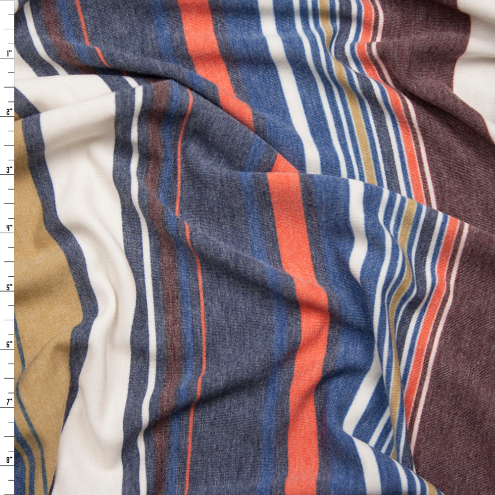 Navy, Tan, and Wine Multi Stripe Lightweight Stretch French Terry Fabric By The Yard