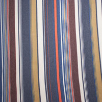 Navy, Tan, and Wine Multi Stripe Lightweight Stretch French Terry Fabric By The Yard - Wide shot