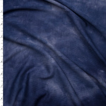 Navy and Midnight Tie Dye Lightweight Stretch Rayon Jersey Knit Fabric By The Yard