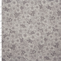 Light Grey on White Field of Flowers 'London Calling' Cotton Lawn Fabric By The Yard