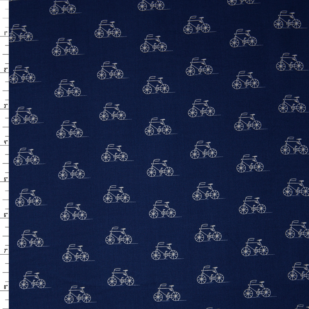 White on Navy Bicycles 'London Calling' Cotton Lawn Fabric By The Yard