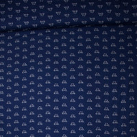 White on Navy Bicycles 'London Calling' Cotton Lawn Fabric By The Yard - Wide shot