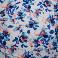 Blue and Soft Pink Watercolor Floral on White Double Brushed Poly Spandex Fabric By The Yard - Wide shot