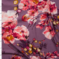 Pink and Mustard Floral on Dusty Lilac Double Brushed Poly Spandex Fabric By The Yard