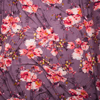 Pink and Mustard Floral on Dusty Lilac Double Brushed Poly Spandex Fabric By The Yard - Wide shot