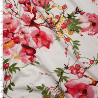 Pink and Mustard Floral on White Double Brushed Poly Spandex Fabric By The Yard