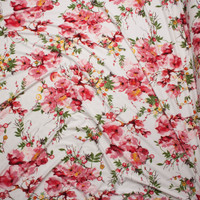Pink and Mustard Floral on White Double Brushed Poly Spandex Fabric By The Yard - Wide shot
