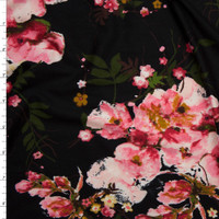 Pink and Mustard Floral on Black Double Brushed Poly Spandex Fabric By The Yard
