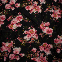 Pink and Mustard Floral on Black Double Brushed Poly Spandex Fabric By The Yard - Wide shot