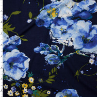 Sky Blue and Yellow Floral on Navy Double Brushed Poly Spandex Fabric By The Yard