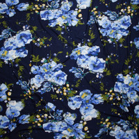 Sky Blue and Yellow Floral on Navy Double Brushed Poly Spandex Fabric By The Yard - Wide shot