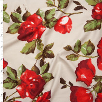 Red Roses and Leaves on Ivory Double Brushed Poly Spandex Fabric By The Yard