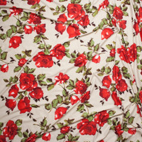 Red Roses and Leaves on Ivory Double Brushed Poly Spandex Fabric By The Yard - Wide shot